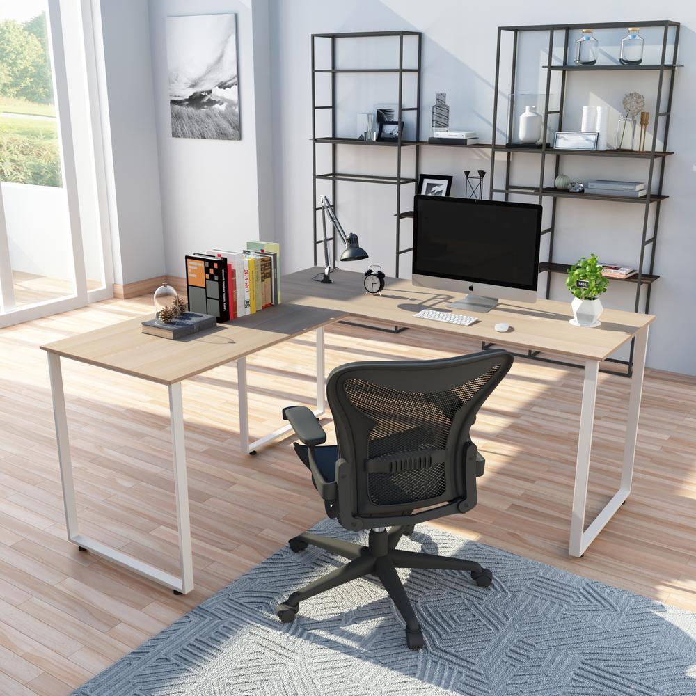 Oak L-Shaped Workstation Laptop Table Corner Desk