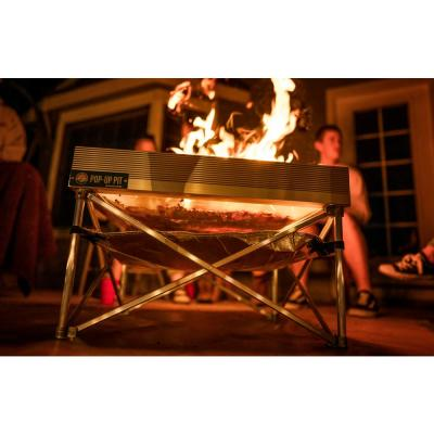 Pop-Up Pit 24 in. x 24 in. x 15 in. Square Aluminum Wood Burning Fire Pit with Heat Shield