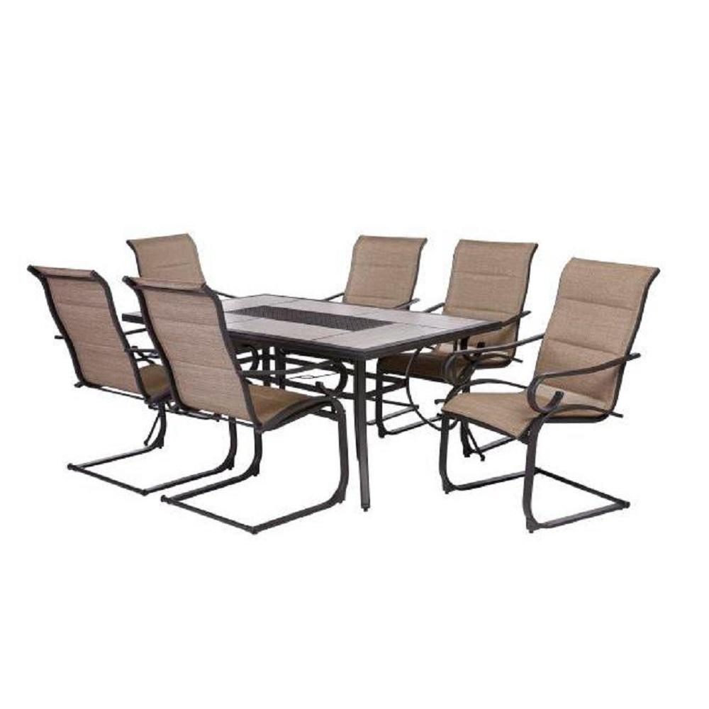 Crestridge 7 Piece Padded Sling Outdoor Dining Set In Putty