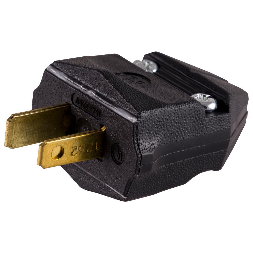 Household Polarized Plug, Black