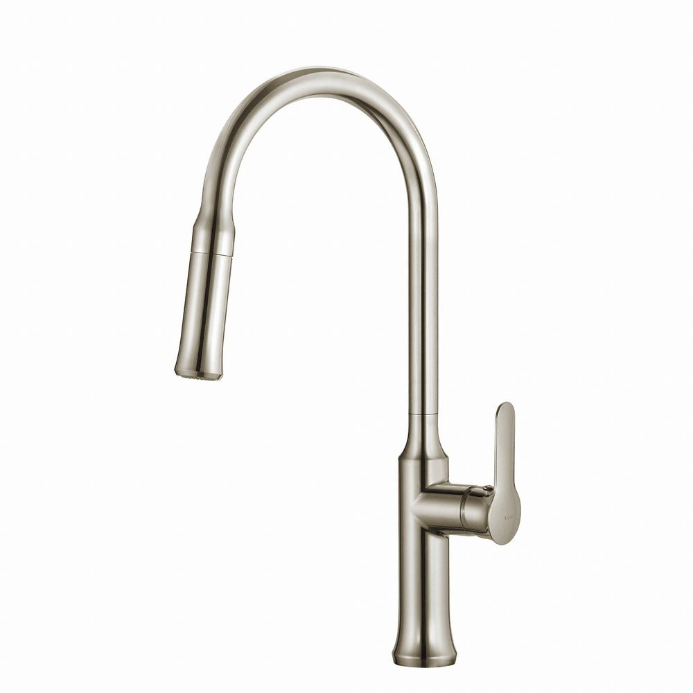 Nola Single Handle Pull Down Kitchen Faucet With Dual Function Sprayer In Stainless Steel