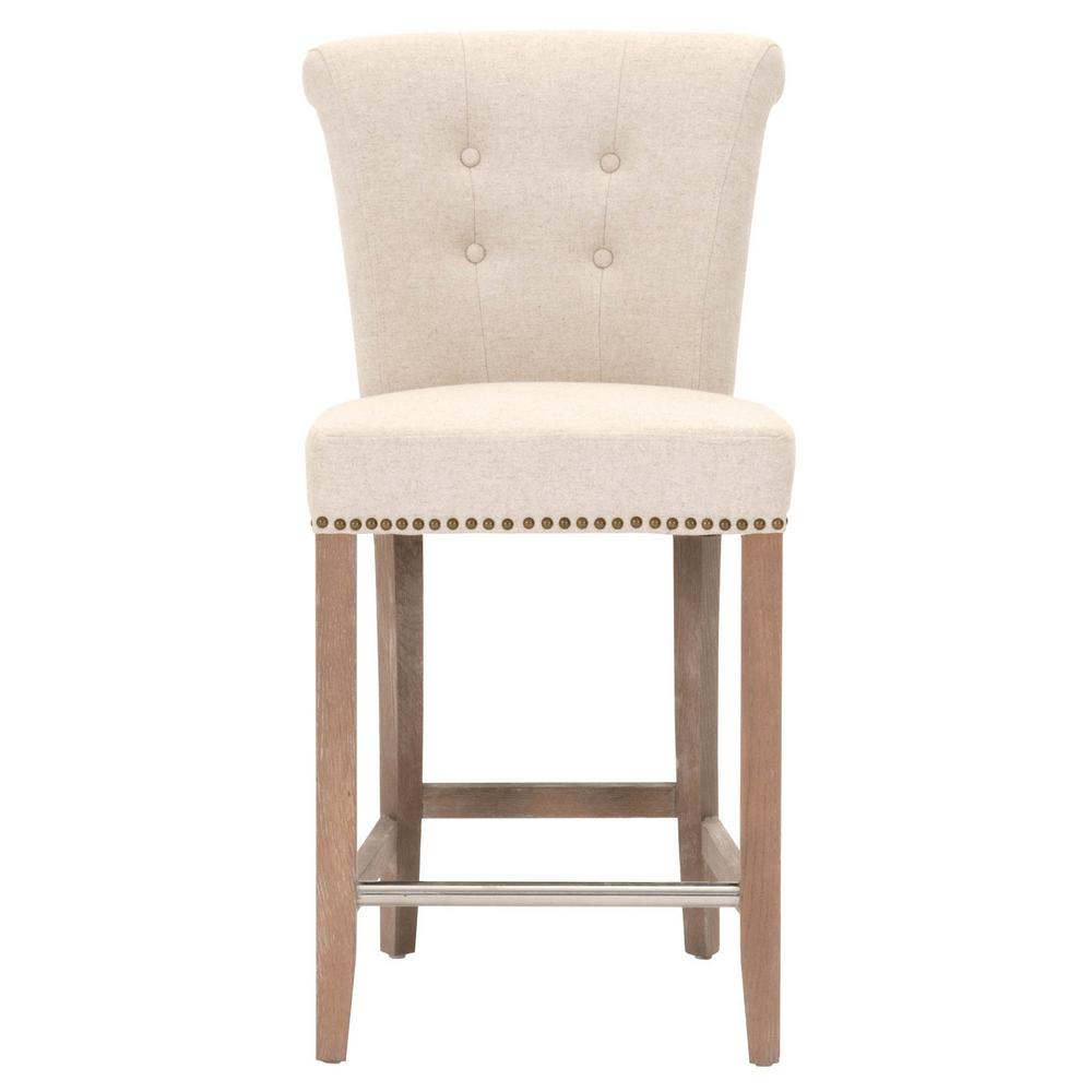Orient express furniture luxe 26 in jute fabric stone wash oak counter stool 7117cs jut gld sw the home depot