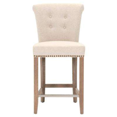 Luxe 26 in. Jute Fabric, Stone Wash Oak Counter Stool