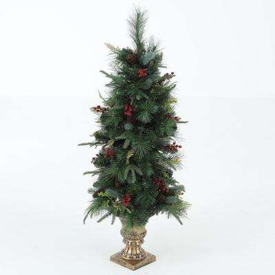 4 ft. Pre-Lit Porch Christmas Tree with Holiday Decor