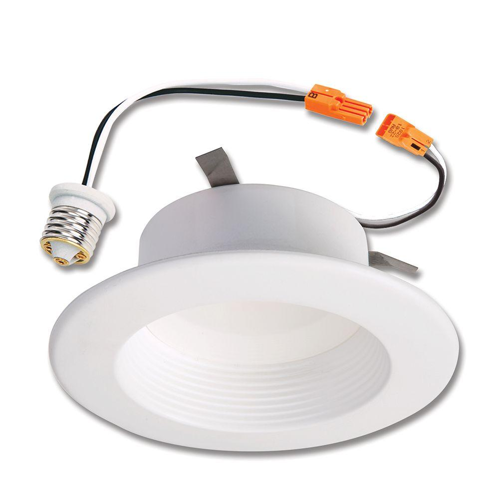 Halo rl 4 in white integrated led recessed ceiling light fixture halo rl 4 in white integrated led recessed ceiling light fixture retrofit baffle trim with 90 cri 2700k warm white rl460wh927 the home depot mozeypictures Image collections