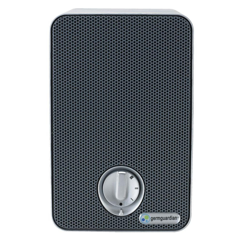 GermGuardian 3-in-1 True Hepa Air Purifier with UV Sanitizer and Odor Reduction, 9 in. Table Top Mini Tower, Gray