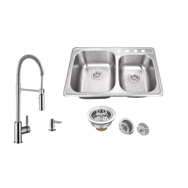 All-In-One Stainless Steel 33-1/4 in. 4-Hole Double Bowl Drop-In Kitchen Sink in Brushed Stainless with Kitchen Faucet