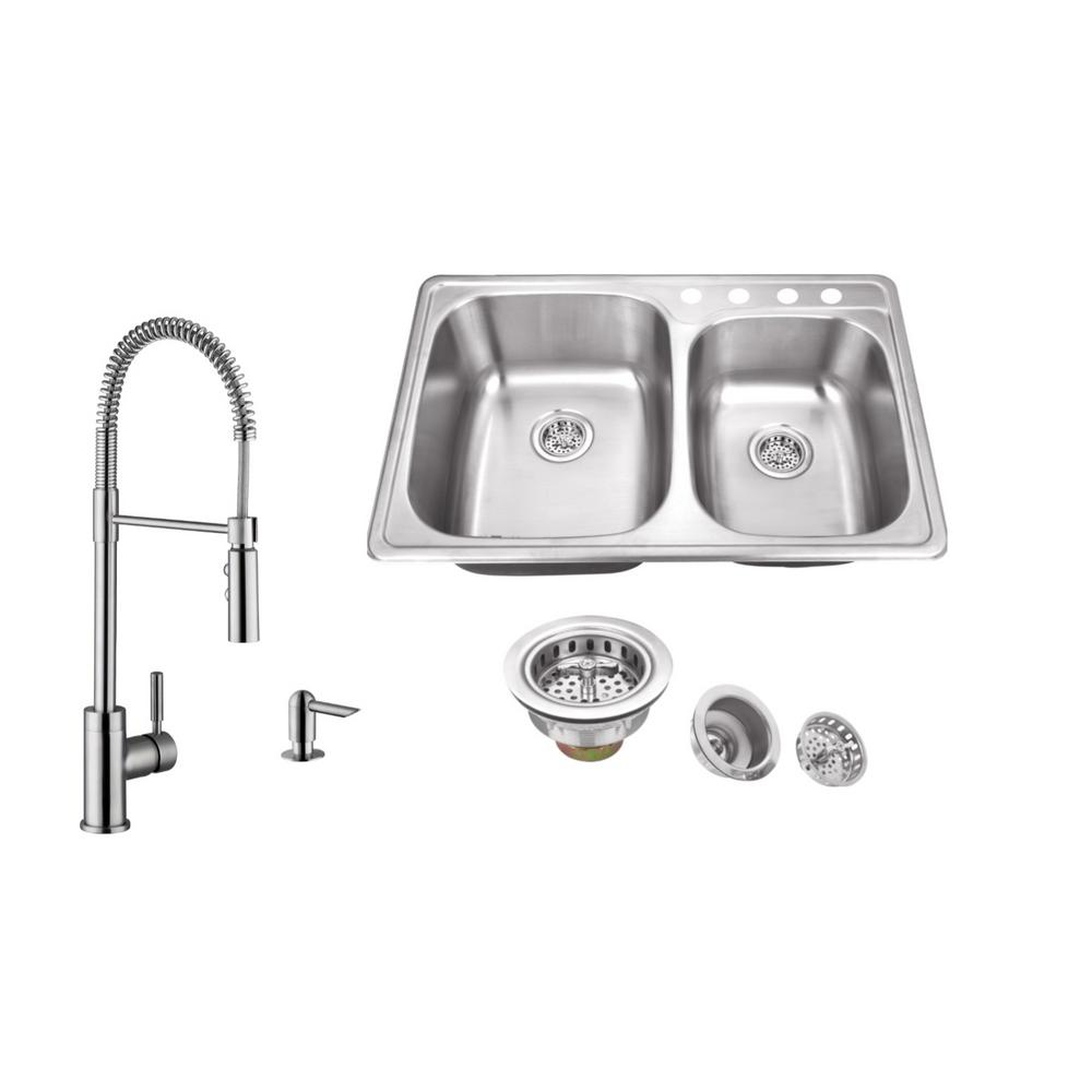 IPT Sink Company Drop-In 33 in. 4-Hole Stainless Steel Kitchen ...