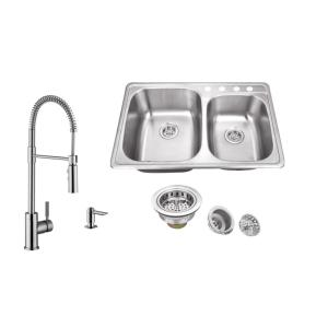 IPT Sink Company Drop-In 33 inch 4-Hole Stainless Steel Double Bowl Kitchen Sink in Brushed Stainless with Pull Out... by IPT Sink Company