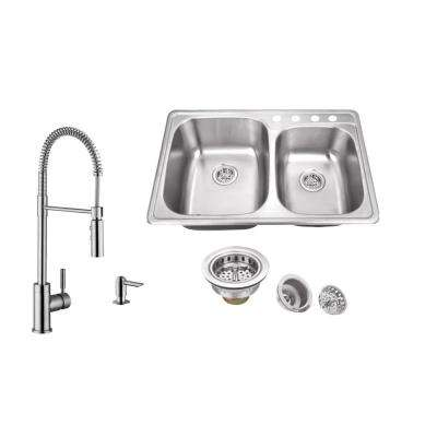 Drop-In 33 in. 4-Hole Stainless Steel Double Bowl Kitchen Sink in Brushed Stainless with Pull Out Kitchen Faucet