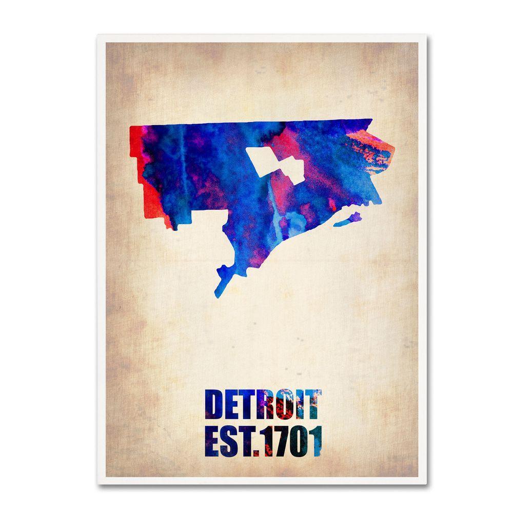 Trademark Fine Art 24 in. x 18 in. Detroit Watercolor Map Canvas Art