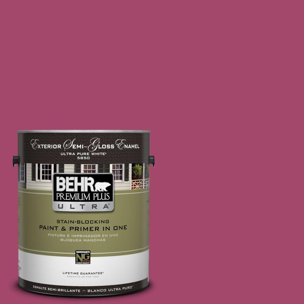 BEHR Premium Plus Ultra 1-gal. #HDC-SM14-1 Fuschia Flair Semi-Gloss Enamel Exterior Paint