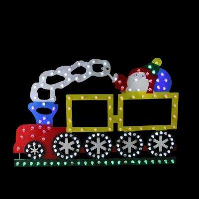 Lighted LED Multi-Color Train Christmas Window Silhouette Decoration