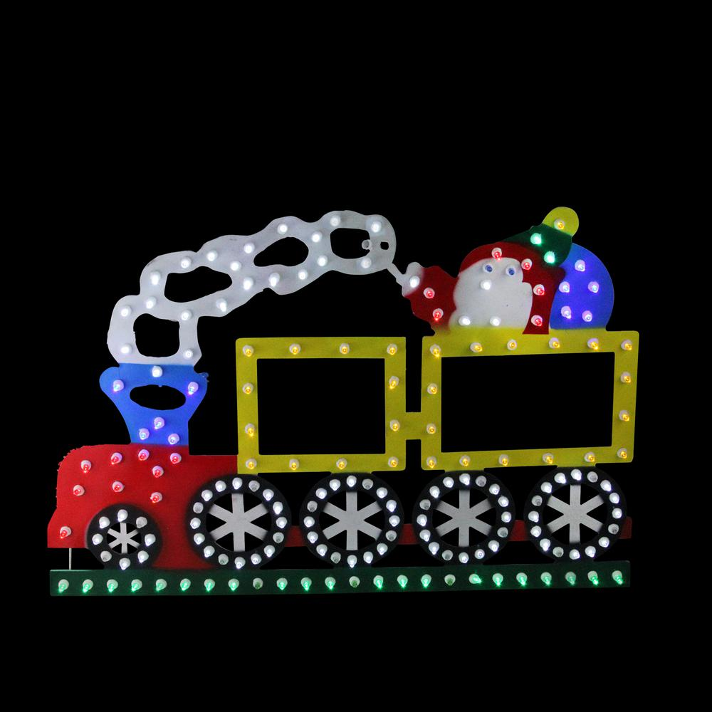 12.25 in. Lighted LED Multi-Color Train Christmas Window Silhouette Decoration
