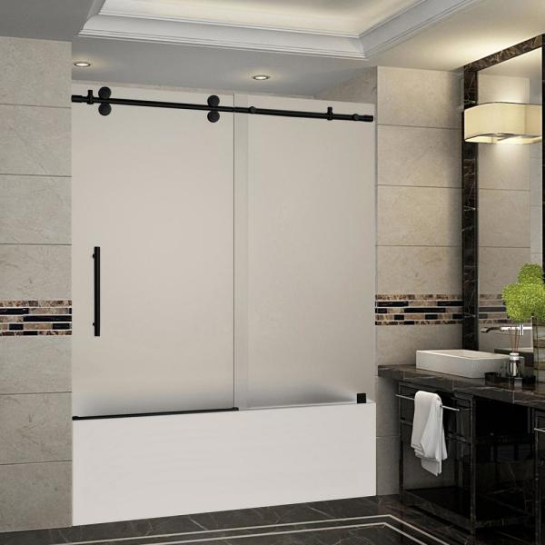 Langham 56 in. to 60 in. x 60 in. Frameless Sliding Tub Door with Frosted Glass in Matte Black