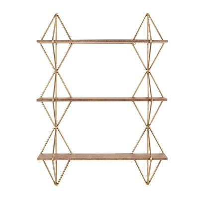 37 in. H x 27 in. W x 7 in. D Home Decorators Collection Wood and Gold Metal Wall-Mount Bookshelf