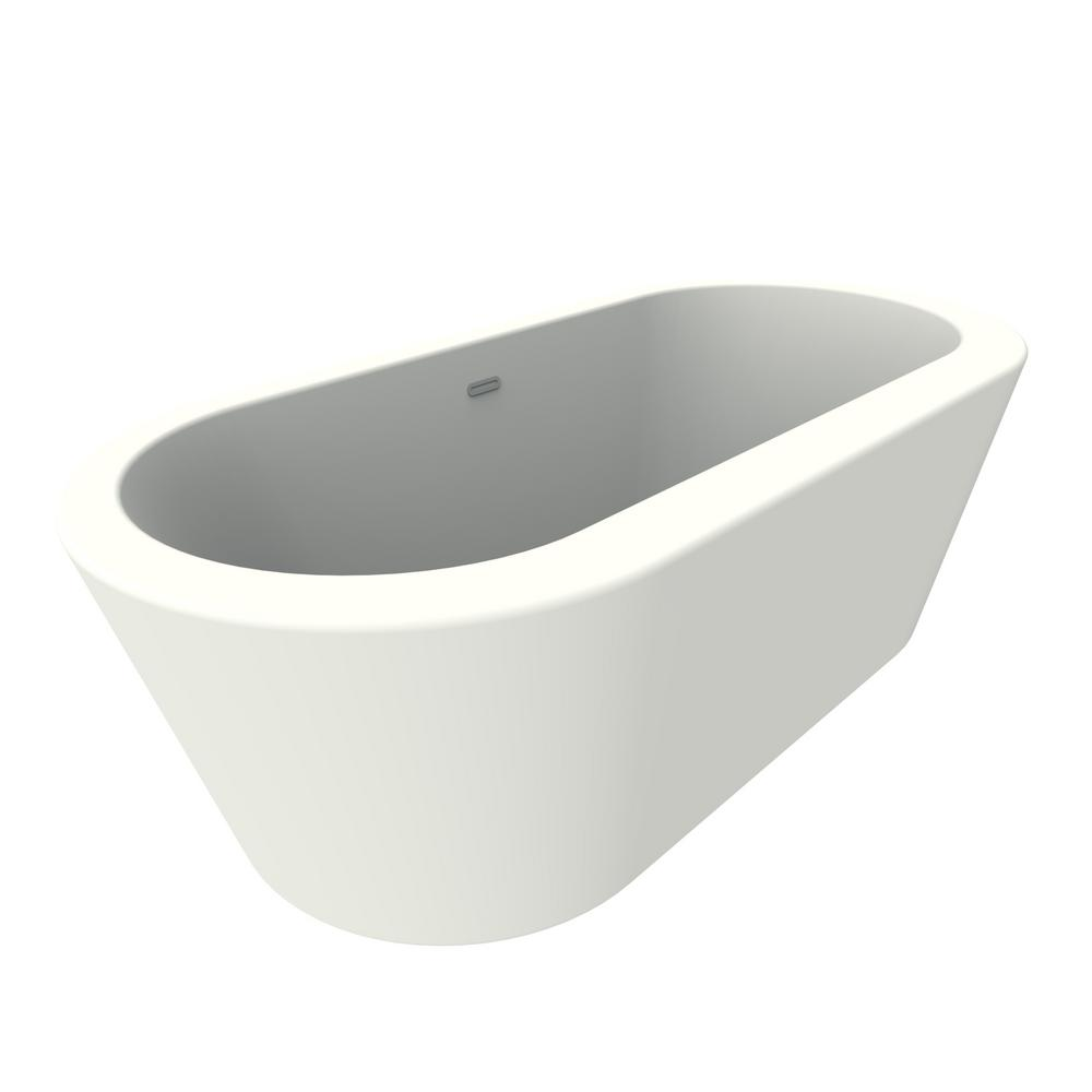 Renwil Dexter 71 In Acrylic Freestanding Flatbottom Non Whirlpool Bathtub In White No Faucet