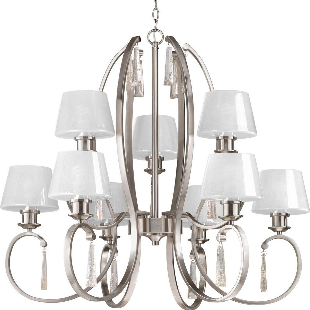 Dazzle Collection 9 Light Brushed Nickel Chandelier With Ice Glass Shade