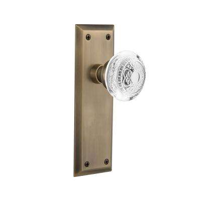 New York Plate 2-3/8 in. Backset Antique Brass Privacy Bed/Bath Crystal Egg and Dart Door Knob