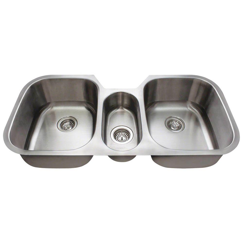 Medium image of polaris sinks undermount stainless steel 43 in  triple bowl kitchen sink