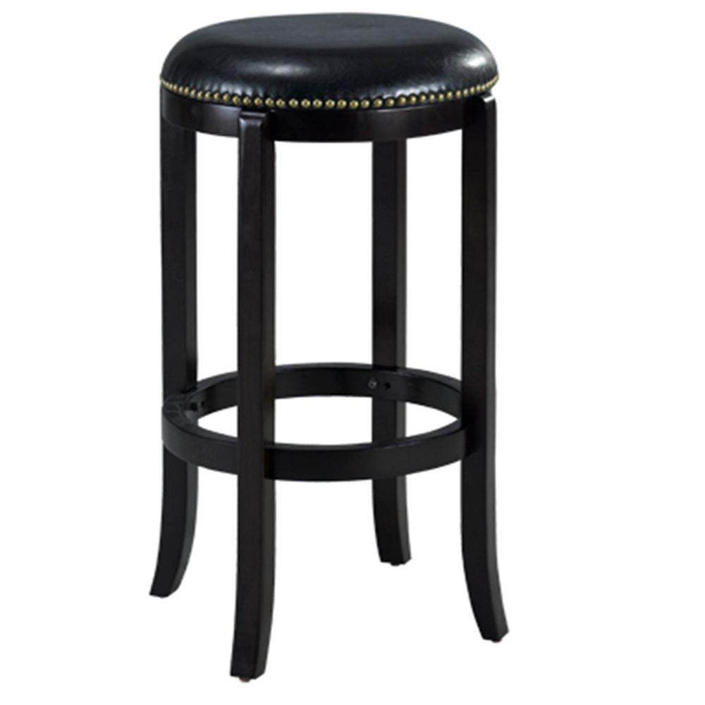Cordova 24 in. Black Swivel Cushioned Bar Stool