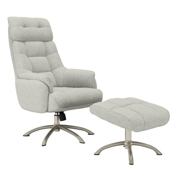 Colin Contemporary in Heather Gray Tweed Swivel Rocker Chair and Ottoman Set