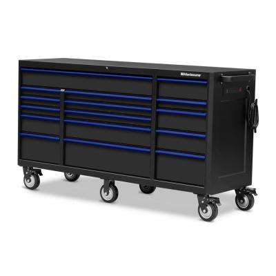 72 in. x 24 in. 16-Drawer Roller Cabinet Tool Chest with Power and USB Outlets in Black and Blue