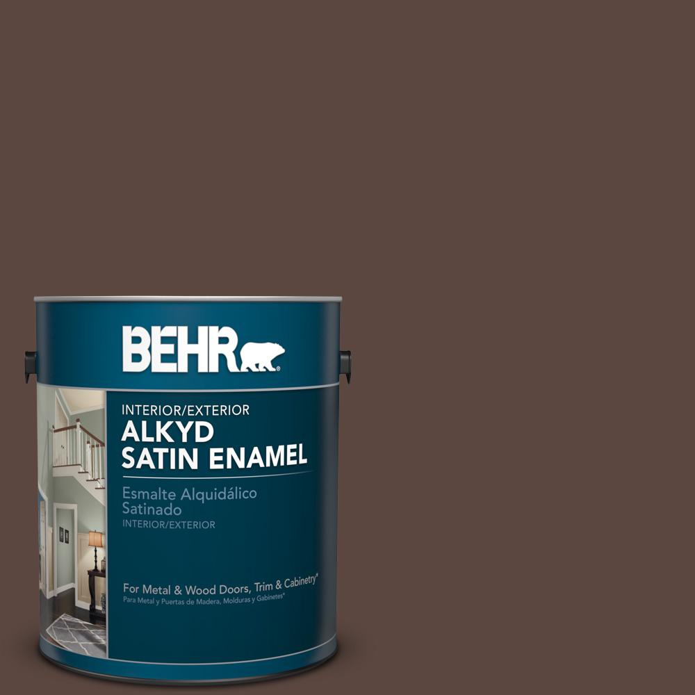 1 gal. #AE-18 Nomad Brown Satin Enamel Alkyd Interior/Exterior Paint