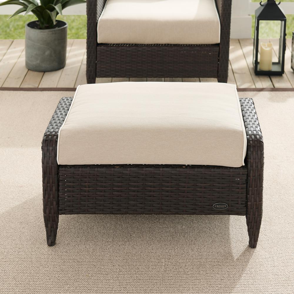 Kiawah Wicker Outdoor Ottoman with Sand Cushions