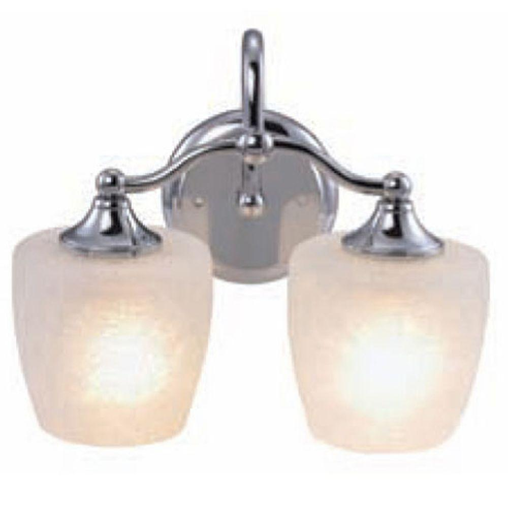 Yosemite Home Decor Vanity Lighting Family 2-Light Chrome Frame Bathroom Vanity Light with Crackle Frosted Glass Shade