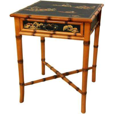 Oriental Furniture Light Brown Ching Small Cabinet