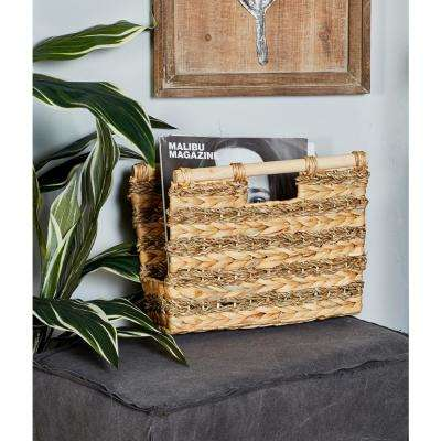 Rectangular Wicker Hyacinth and Seagrass Baskets with Handles (Set of 3)