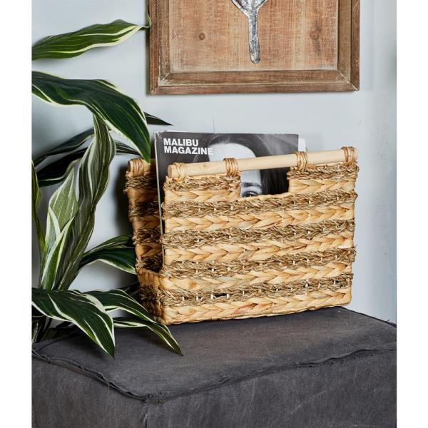 Litton Lane Rectangular Wicker Hyacinth and Seagrass Baskets with Handles (Set
