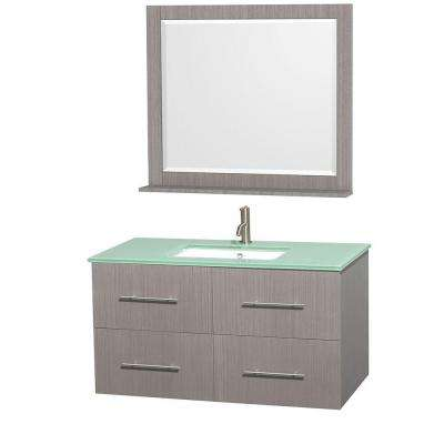 Centra 42 in. Vanity in Gray Oak with Glass Vanity Top in Green, Square Sink and 36 in. Mirror