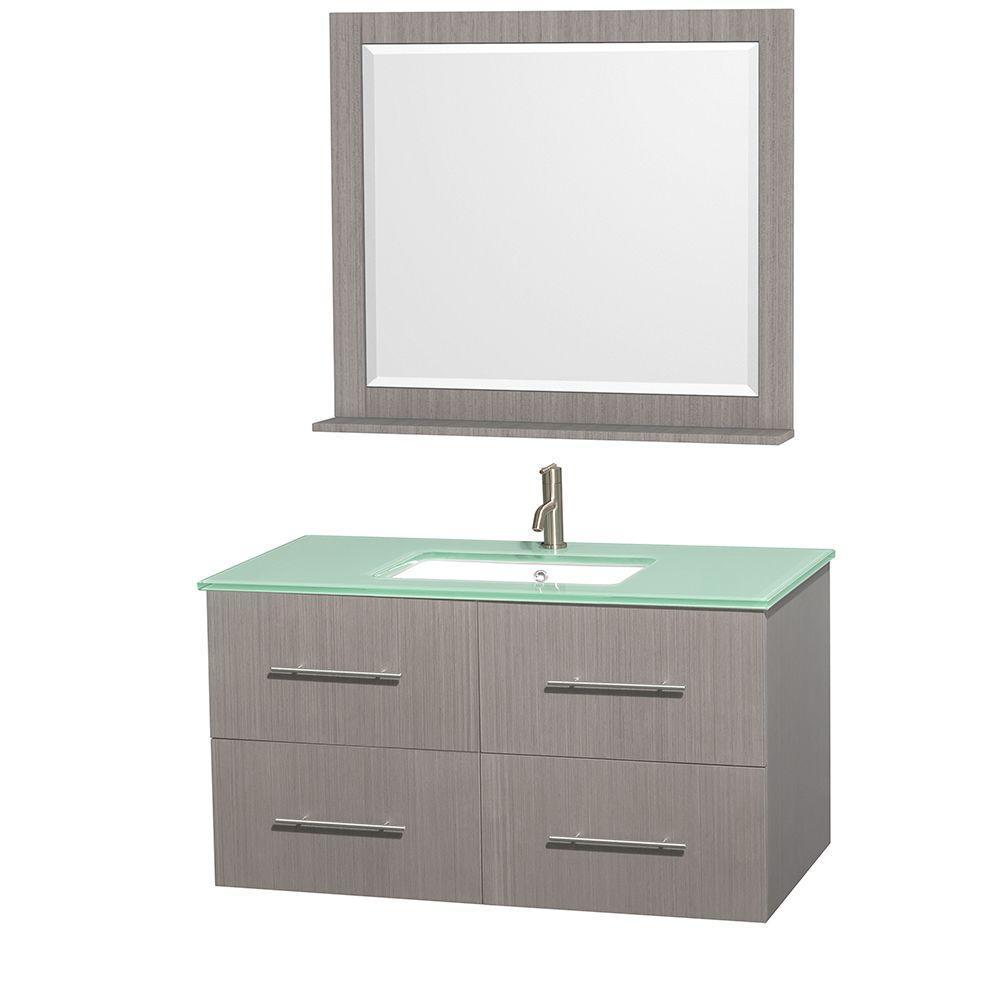 Centra 42 in. Vanity in Gray Oak with Glass Vanity Top