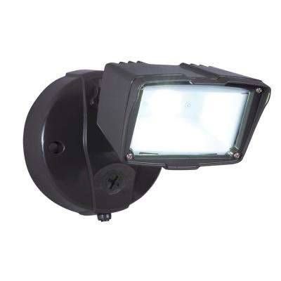 Bronze Outdoor Integrated LED Small Single-Head Security Flood Light with Dusk to Dawn Photocell Sensor