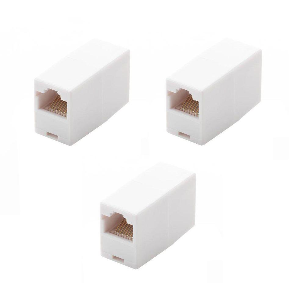 Commercial Electric Category 6 Jack White 5016 Wh The Home Depot Rj45 Keystone Wiring Diagram On Eia 568b For Cat Jacks In Line Ethernet Cord Coupler 3 Pack