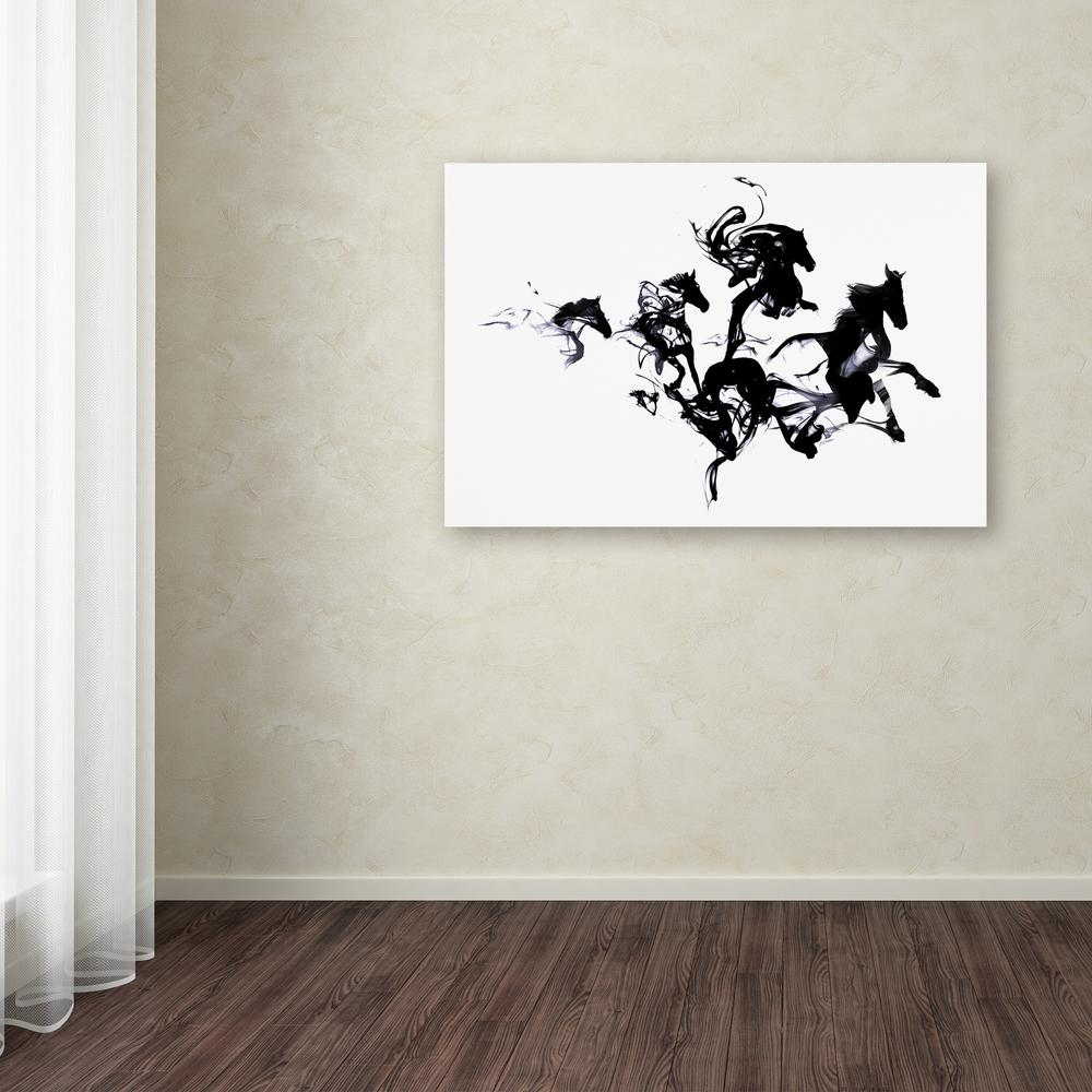 "12 in. x 19 in. ""Black Horses"" by Robert Farkas Printed"