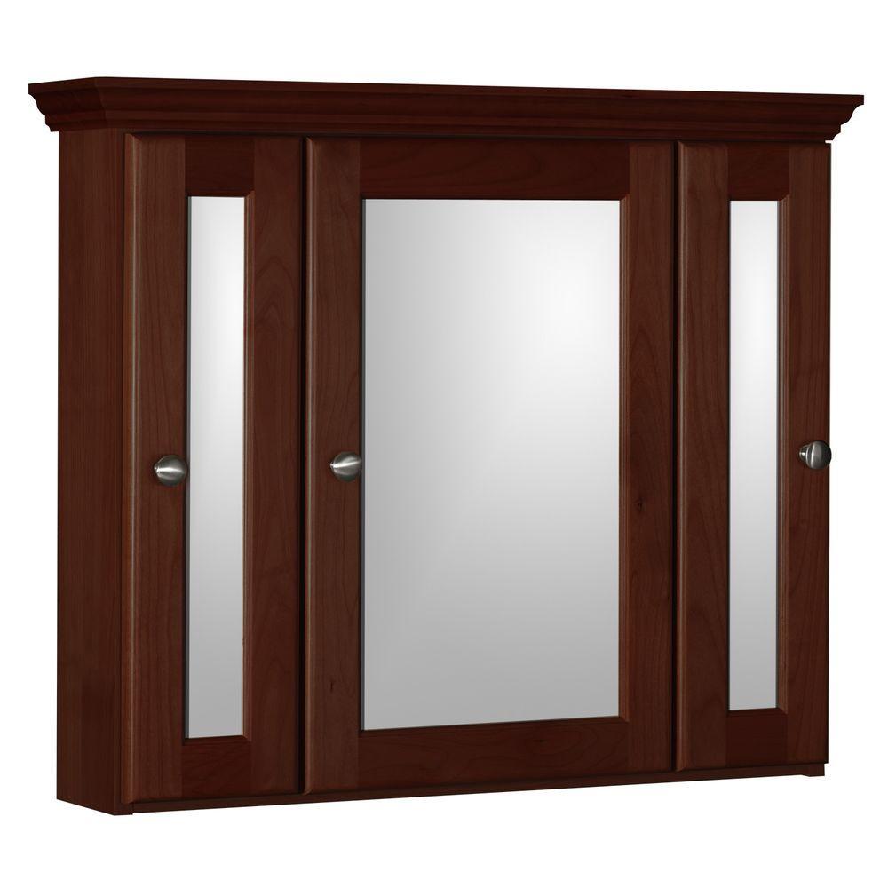Ultraline 30 in. W x 27 in. H x 6-1/2 in. D Framed Tri-View Surface-Mount Bathroom Medicine Cabinet in Dark Alder