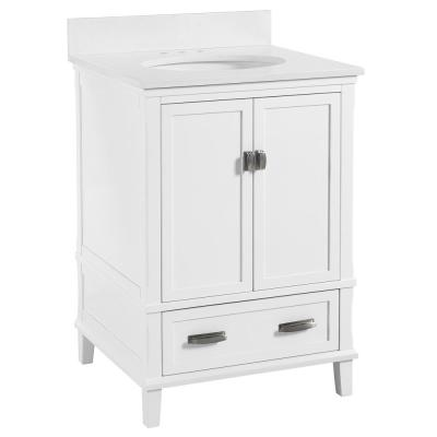 Irving 24 in. W Bath Vanity in White with Ocean Mist Engineered Stone Vanity Top with Pre-Installed Porcelain Basin