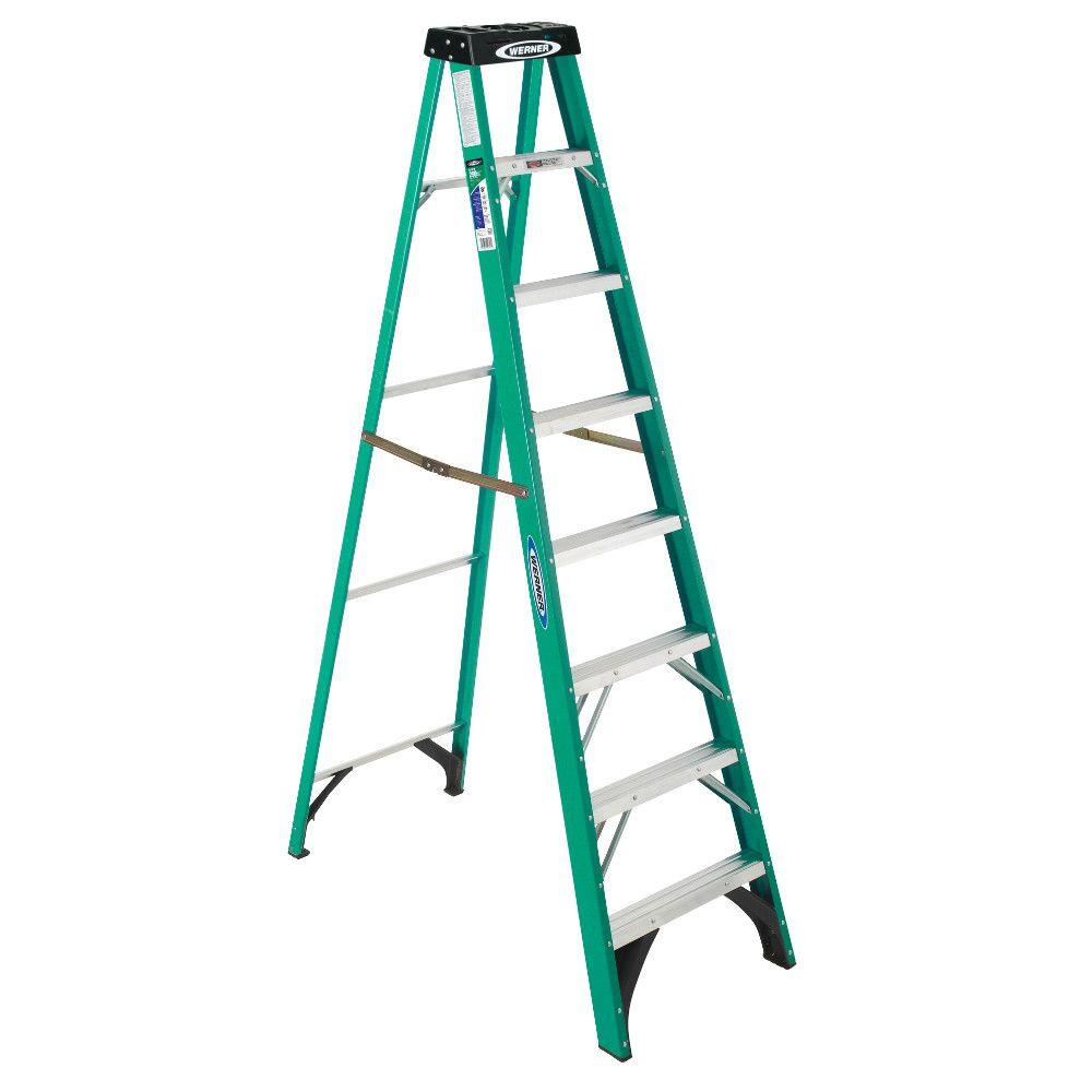 Werner 8 ft. Fiberglass Step Ladder with 225 lb. Load Capacity Type II Duty Rating