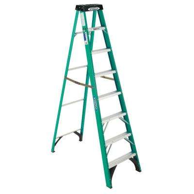 8 ft. Fiberglass Step Ladder with Yellow Top, 225 lb. Load Capacity Type II Duty Rating