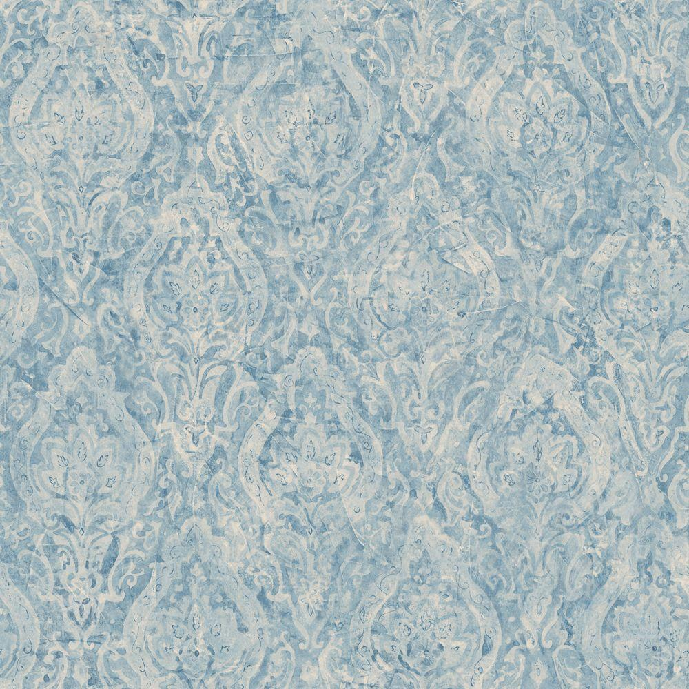 The Wallpaper Company 56 sq. ft. Blue Damask Wallpaper-DISCONTINUED