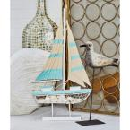 Sailboat Wood Sculpture in White and Green