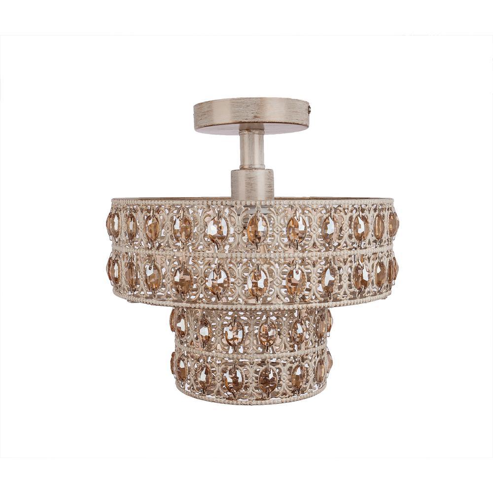 1-Light Champagne Semi-Flush Mount Light