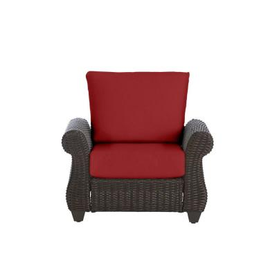 Mill Valley Brown Wicker Outdoor Patio Lounge Chair with CushionGuard Chili Red Cushions