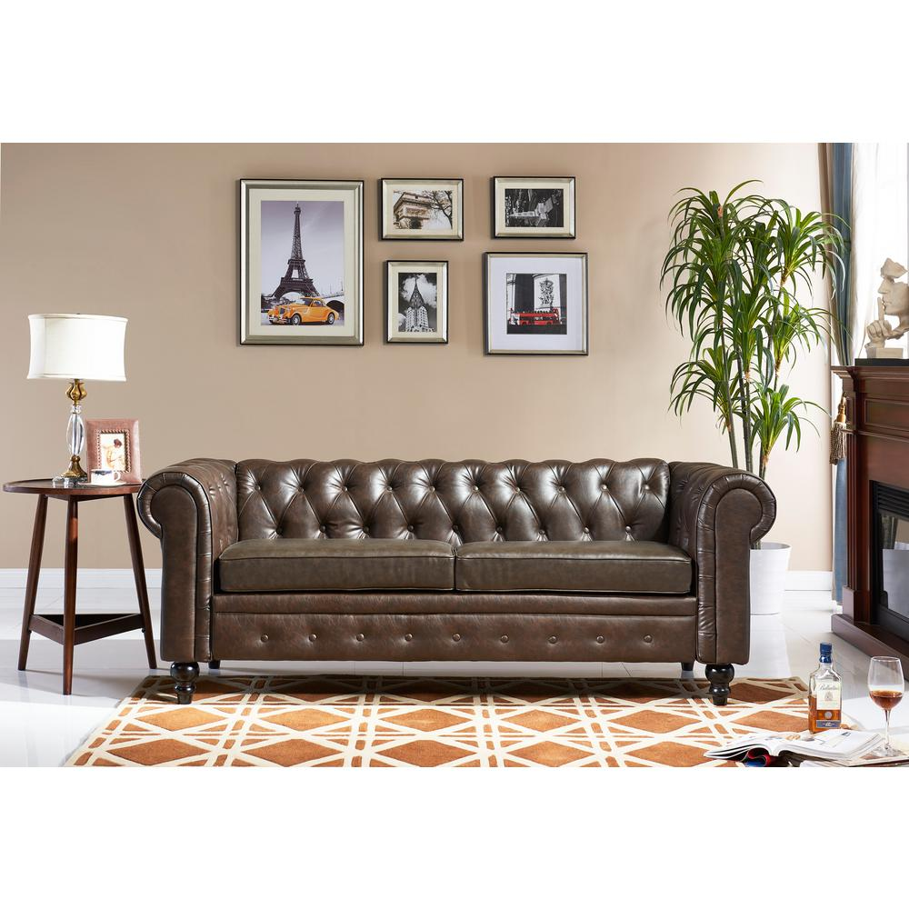 Crawford U0026 Burke Chesterfield Brown Bi Cast Leather Sofa 16110211ABS   The  Home Depot