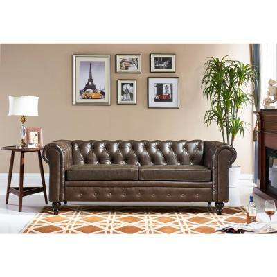 Chesterfield Brown Bi-Cast Leather Sofa