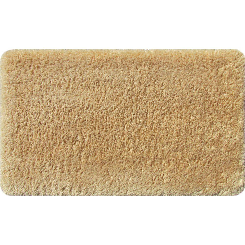 Nice Apache Mills Fur Foam Tan 20 In. X 34 In. Bath Mat