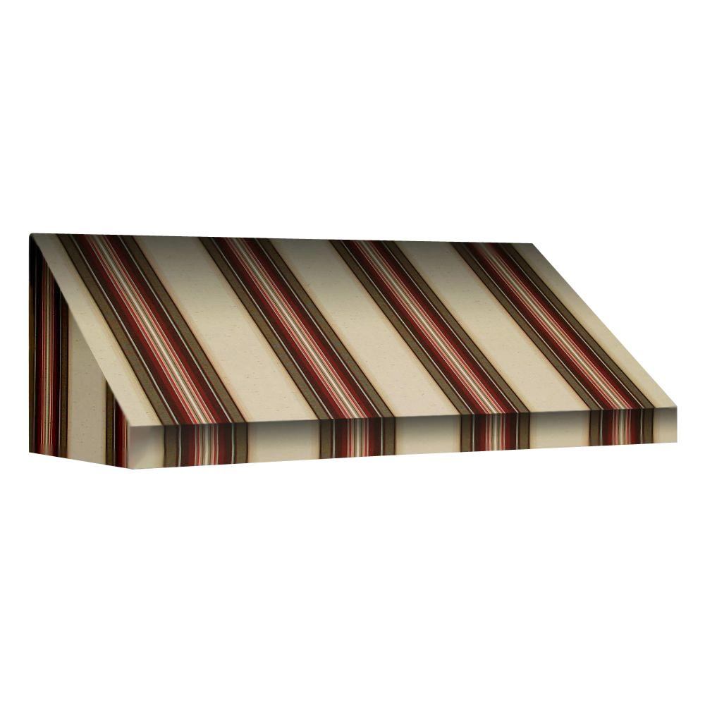 AWNTECH 25 ft. New Yorker Window/Entry Awning (18 in. H x 36 in. D) in Brown / White Stripe